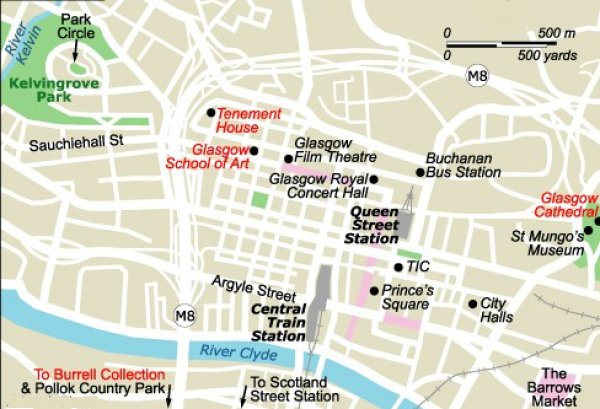 Maps of Glasgow - the largest city in Scotland