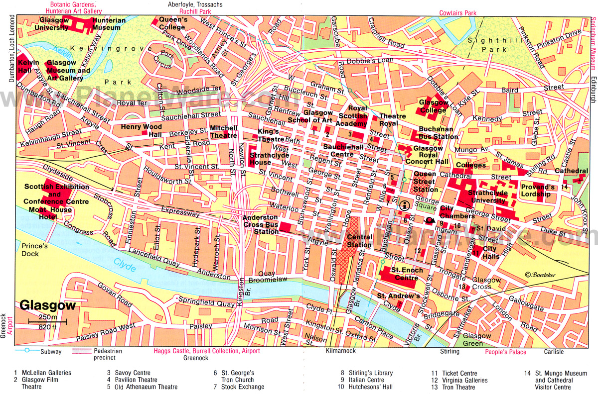 Map Of Glasgow Scotland Maps of Glasgow   the largest city in Scotland