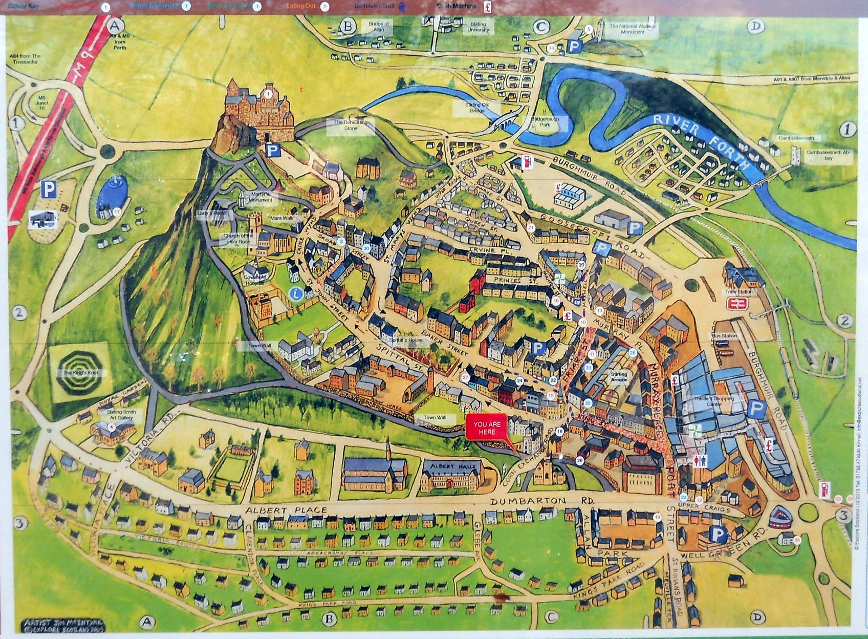 Stirling Scotland Map Photographs and map of the historic Stirling Castle in Central