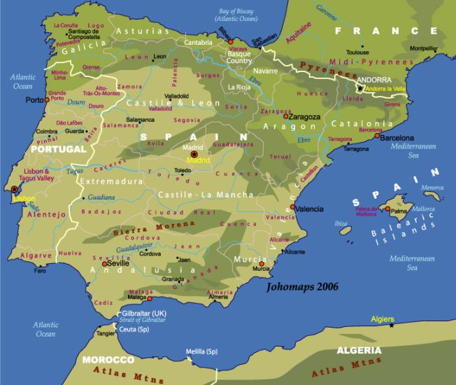 Map of Andorra in the Iberian Peninsula