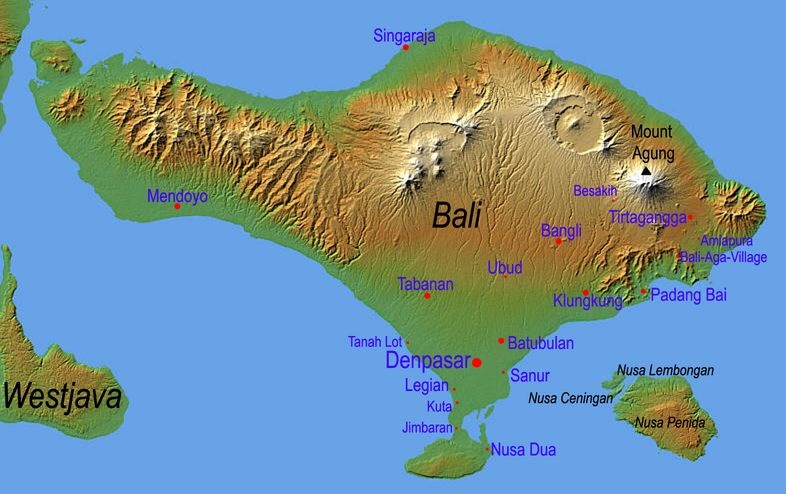 Travel Maps of Bali showing mountains, towns and places of interest ...