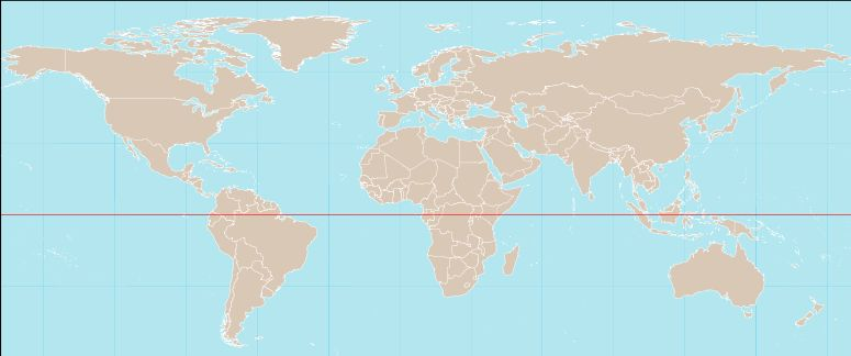 World Map Showing Countries Crossed By The Equator