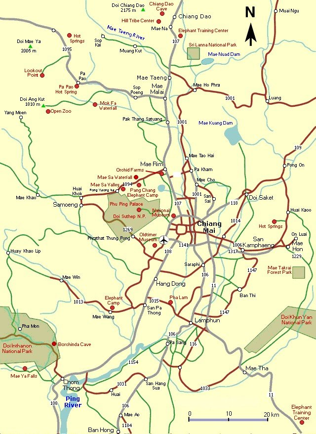 Maps of Chiang Mai in Northern Thailand: location, streets, highlands