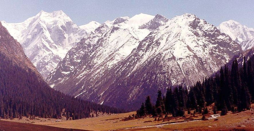 Photographs and location map of the Tien Shan Mountains in ...