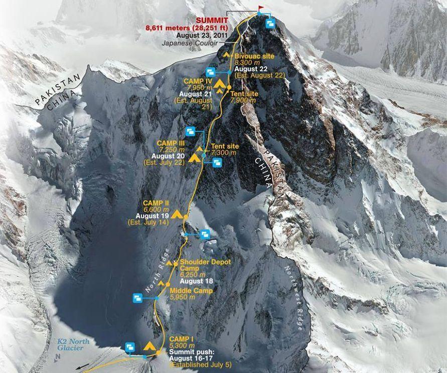 Photo Gallery, ascent routes and map of Mount K2 - the highest ... on cox's bazar map, mount kilimanjaro map, mt. fuji map, mount kilimanjaro, mauna kea, aral sea map, h1 map, khyber pass map, kamet map, deccan plateau map, sulaiman range map, kanchenjunga map, mount rainier, karakoram map, hasa map, mount everest map, mount elbrus, kashmir map, 2008 k2 disaster, hindu kush, hindu kush map, thar desert map, karachi map, j6 map, eastern ghats map, kangchenjunga map, mount everest, seven summits, mount mckinley,