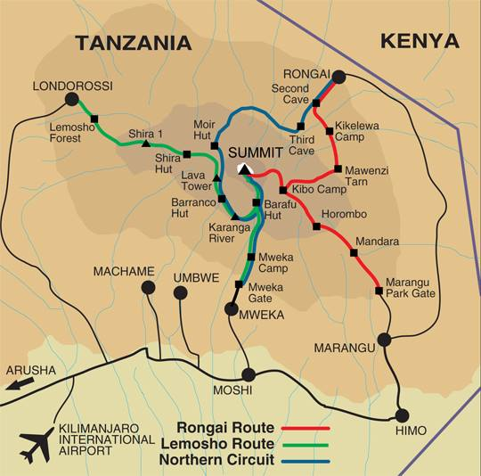 Maps of the different ascent routes on Mount Kilimanjaro - the ...